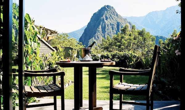 View from the terrace of the Belmond Sanctuary Lodge Hotel, Machu Picchu, Peru, Pie Experiences