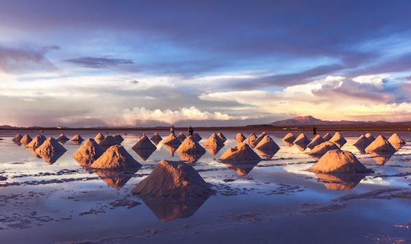 Last rays of sunshine on the salt collection on the salar de uyuni in Bolivia